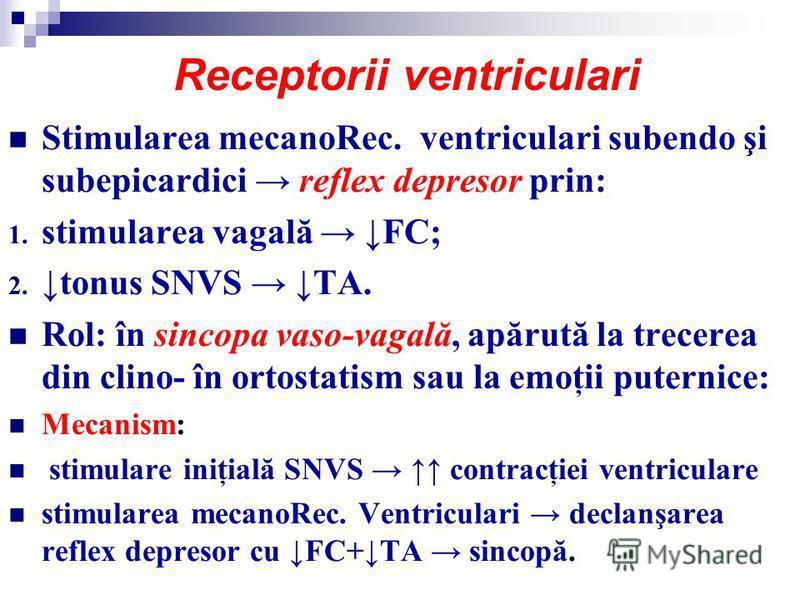 Receptorii ventriculari Stimularea mecanoRec. ventriculari subendo şi subepicardici reflex depresor prin: 1. stimularea vagală FC; 2. tonus SNVS TA. Rol: în sincopa vaso-vagală, apărută la trecerea din clino- în ortostatism sau la emoţii puternice: M