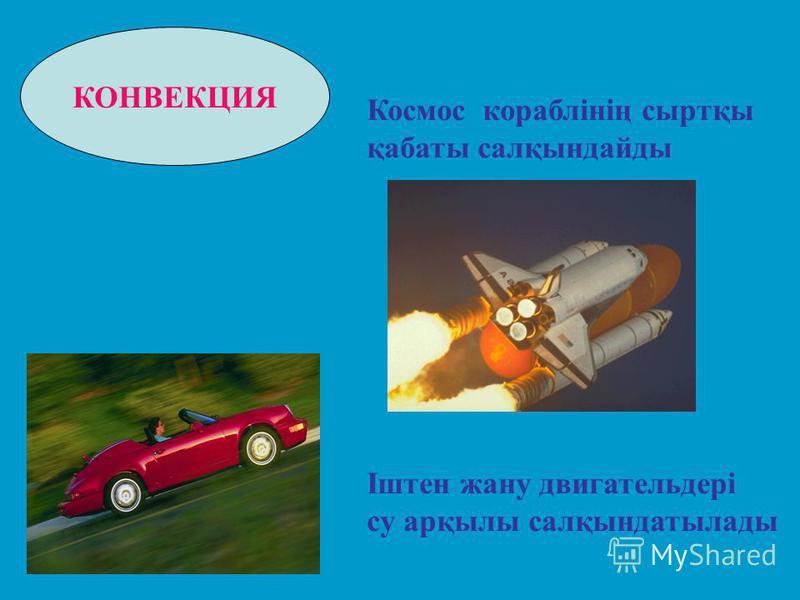 КОНВЕКЦИЯ Космос кораблінің сыртқы қабаты салқындайды Іштен жану двигательдері су арқылы салқындатылады