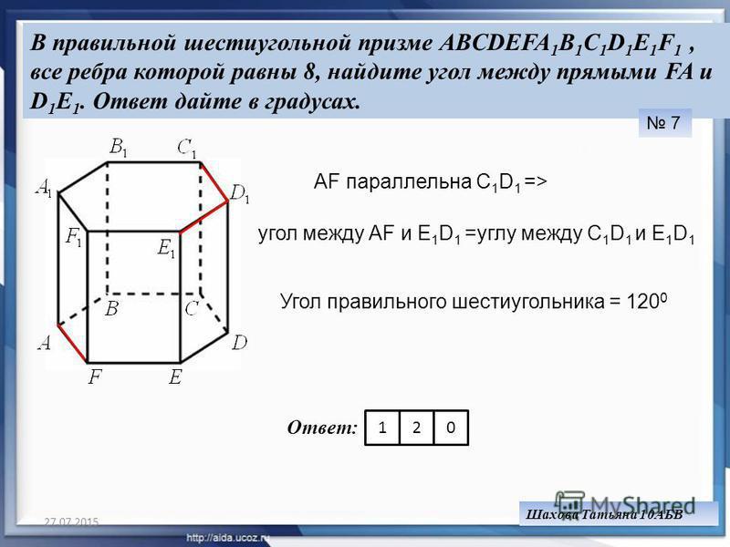 27.07.201511 В правильной шестиугольной призме ABCDEFA 1 B 1 C 1 D 1 E 1 F 1, все ребра которой равны 8, найдите угол между прямыми FA и D 1 E 1. Ответ дайте в градусах. 7 АF параллельна C 1 D 1 => угол между АF и Е 1 D 1 =углу между C 1 D 1 и Е 1 D