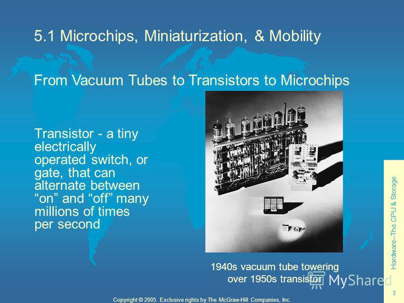 Hardware--The CPU & Storage 3 Copyright © 2005. Exclusive rights by The McGraw-Hill Companies, Inc. 5.1 Microchips, Miniaturization, & Mobility Transistor - a tiny electrically operated switch, or gate, that can alternate between on and off many mill