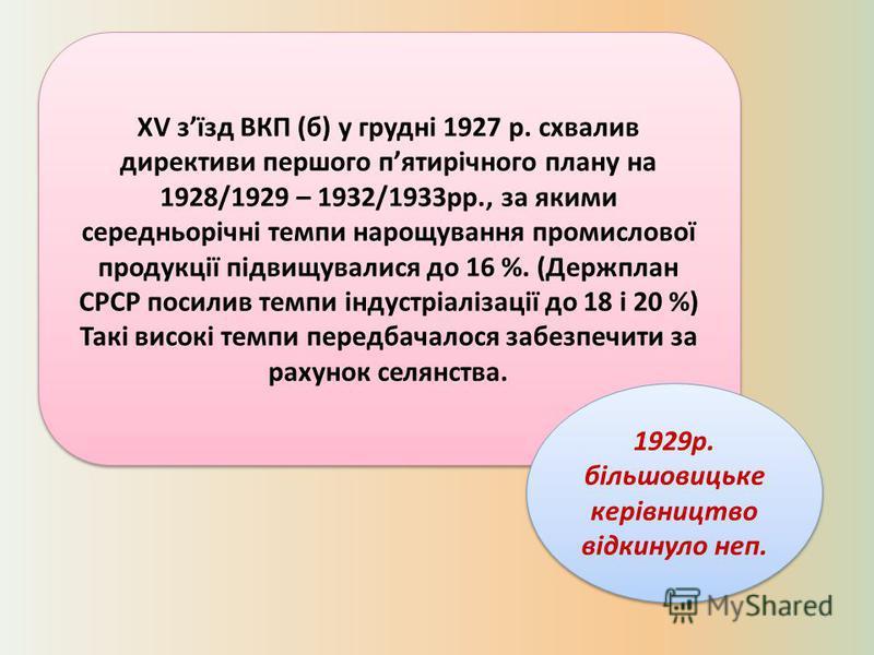 ХV зїзд ВКП (б) у грудні 1927 р. схвалив директиви першого пятирічного плану на 1928/1929 – 1932/1933рр., за якими середньорічні темпи нарощування промислової продукції підвищувалися до 16 %. (Держплан СРСР посилив темпи індустріалізації до 18 і 20 %