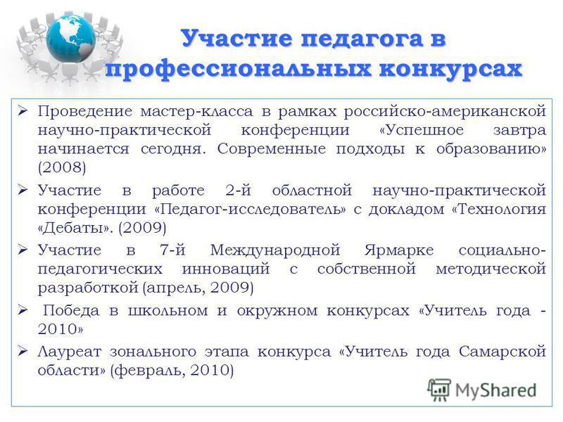 Участие педагога в профессиональных конкурсах Проведение мастер-класса в рамках российско-американской научно-практической конференции «Успешное завтра начинается сегодня. Современные подходы к образованию» (2008) Участие в работе 2-й областной научн