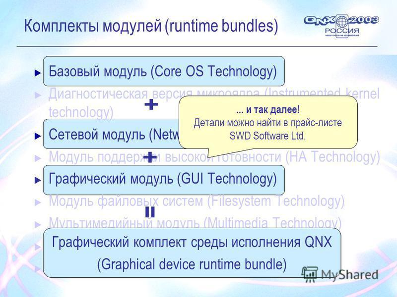 Комплекты модулей (runtime bundles) Базовый модуль (Core OS Technology) Диагностическая версия микроядра (Instrumented kernel technology) Сетевой модуль (Networking Technology) Модуль поддержки высокой готовности (HA Technology) Графический модуль (G