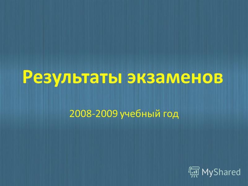 Результаты экзаменов 2008-2009 учебный год