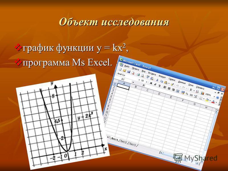 Объект исследования график функции y = kx 2, график функции y = kx 2, программа Ms Excel. программа Ms Excel.