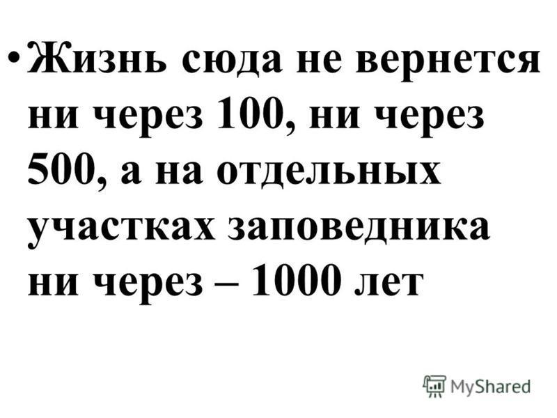 Жизнь сюда не вернется ни через 100, ни через 500, а на отдельных участках заповедника ни через – 1000 лет