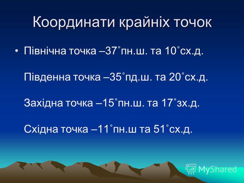 Координати крайніх точок Північна точка –37˚пн.ш. та 10˚сх.д. Південна точка –35˚пд.ш. та 20˚сх.д. Західна точка –15˚пн.ш. та 17˚зх.д. Східна точка –11˚пн.ш та 51˚сх.д.