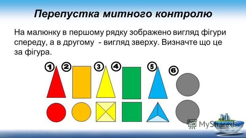 Перепустка митного контролю На малюнку в першому рядку зображено вигляд фігури спереду, а в другому - вигляд зверху. Визначте що це за фігура.