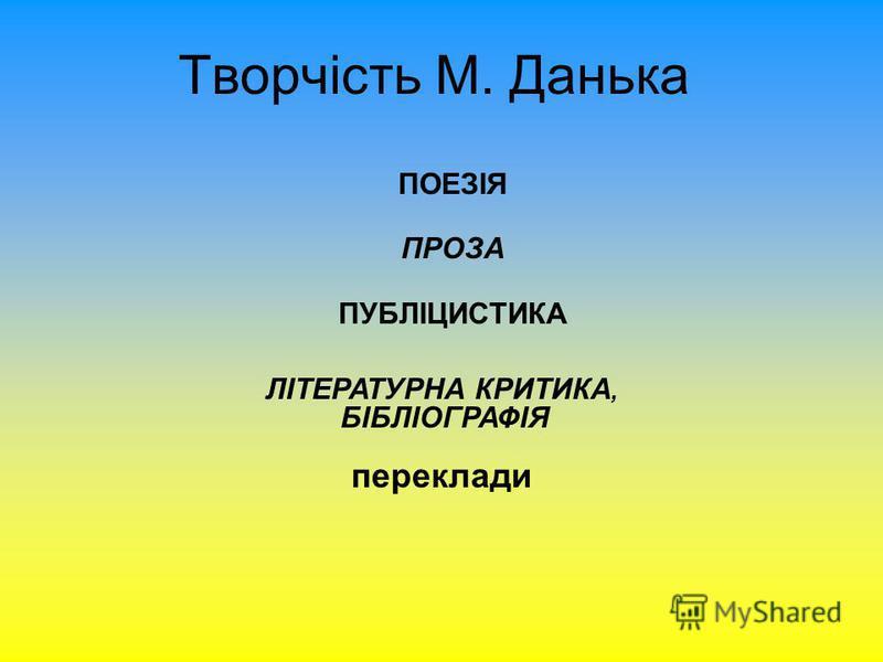 Творчість М. Данька ПОЕЗІЯ ПРОЗА ПУБЛІЦИСТИКА ЛІТЕРАТУРНА КРИТИКА, БІБЛІОГРАФІЯ переклади
