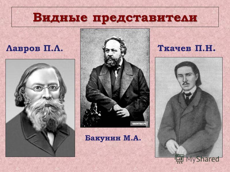 Видные представители Лавров П.Л. Ткачев П.Н. Бакунин М.А.