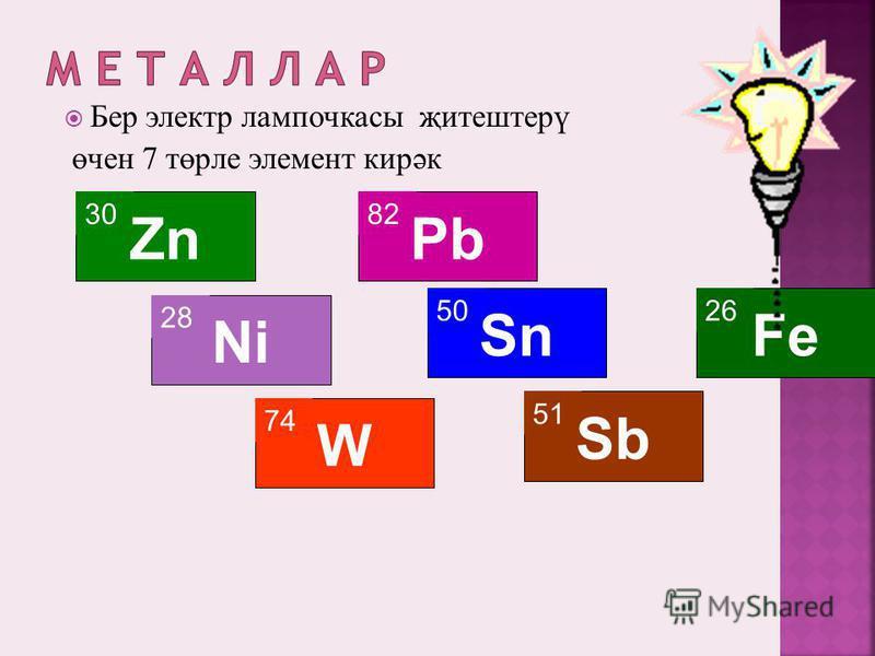 Бер электр лампочкаcы җитештерү өчен 7 төрле элемент кирәк 30 Zn 28 Ni 74 W 82 Pb 50 Sn 51 Sb 26 Fe