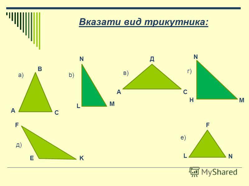 Вказати вид трикутника: А В С а) N L M b)b) А Д С в) г)г) H N M F E K L F N д)д) е)