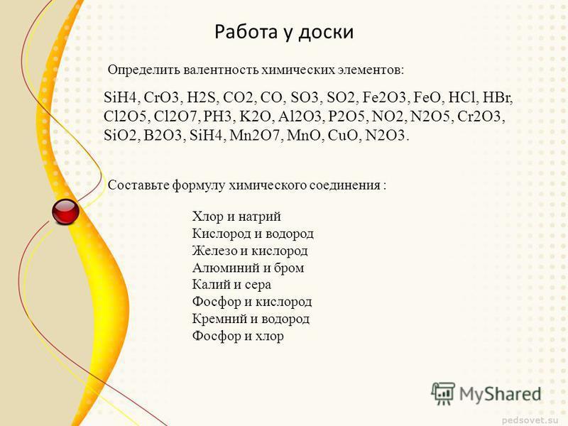 Работа у доски SiH4, CrO3, H2S, CO2, CO, SO3, SO2, Fe2O3, FeO, HCl, HBr, Cl2O5, Cl2O7, РН3, K2O, Al2O3, P2O5, NO2, N2O5, Cr2O3, SiO2, B2O3, SiH4, Mn2O7, MnO, CuO, N2O3. Определить валентность химических элементов: Составьте формулу химического соедин