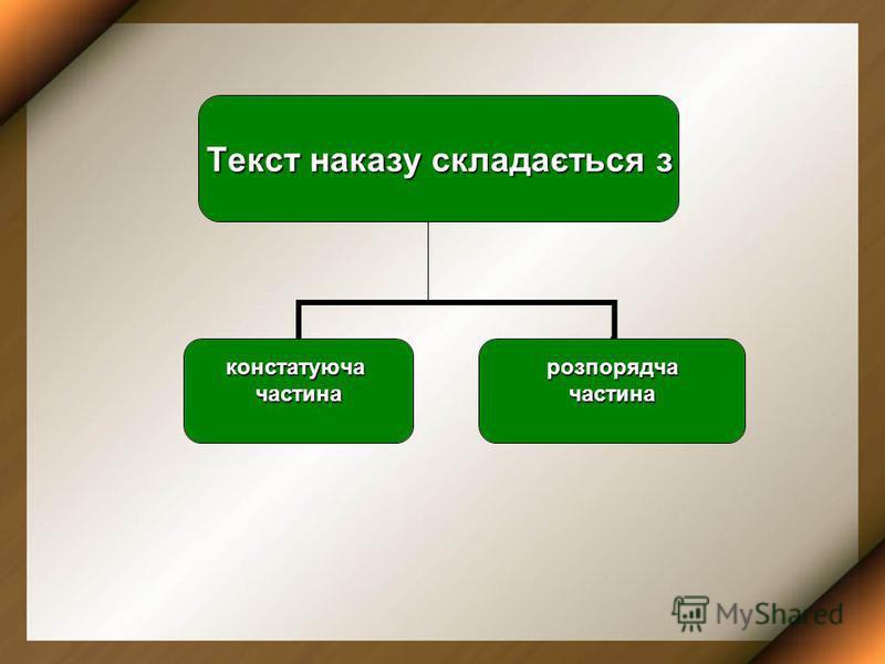 Текст наказу складається з констатуючачастинарозпорядчачастина