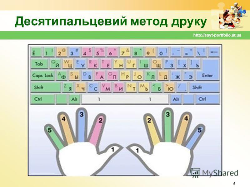Десятипальцевий метод друку 6 http://sayt-portfolio.at.ua