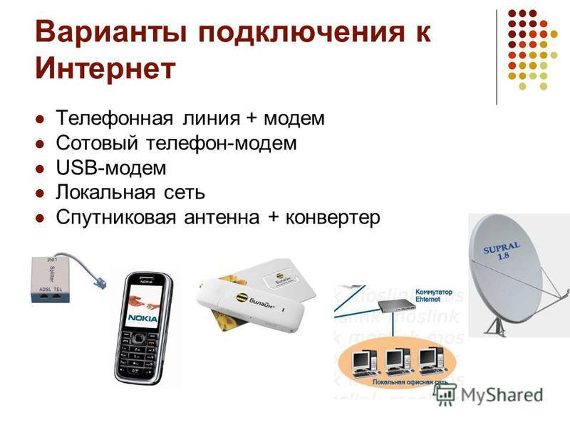 Варианты подключения к Интернет Телефонная линия + модем Сотовый телефон-модем USB-модем Локальная сеть Спутниковая антенна + конвертер