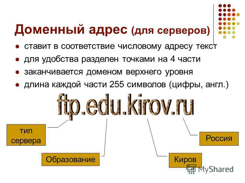 Доменный адрес (для серверов) ставит в соответствие числовому адресу текст для удобства разделен точками на 4 части заканчивается доменом верхнего уровня длина каждой части 255 символов (цифры, англ.) тип сервера Образование Киров Россия