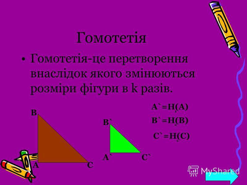 Гомотетія Гомотетія-це перетворення внаслідок якого змінюються розміри фігури в k разів. А В С А`А` B` C` A`=H(A) B`=H(B) 2 2 C`=H(C) 2