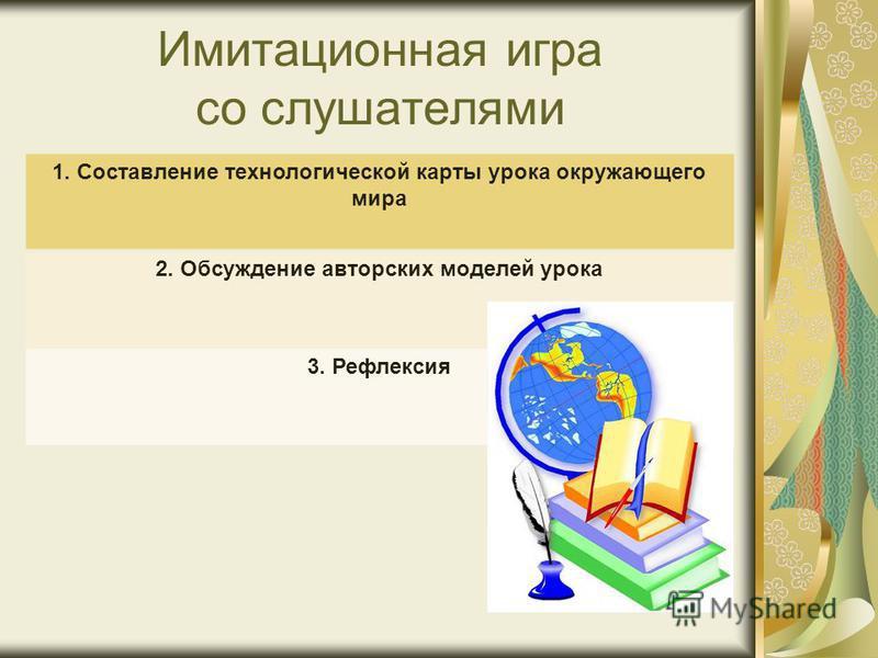 Имитационная игра со слушателями 1. Составление технологической карты урока окружающего мира 2. Обсуждение авторских моделей урока 3. Рефлексия