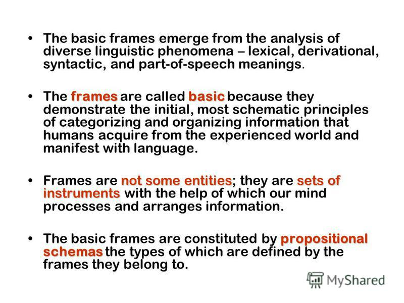 The basic frames emerge from the analysis of diverse linguistic phenomena – lexical, derivational, syntactic, and part-of-speech meanings. framesbasicThe frames are called basic because they demonstrate the initial, most schematic principles of categ