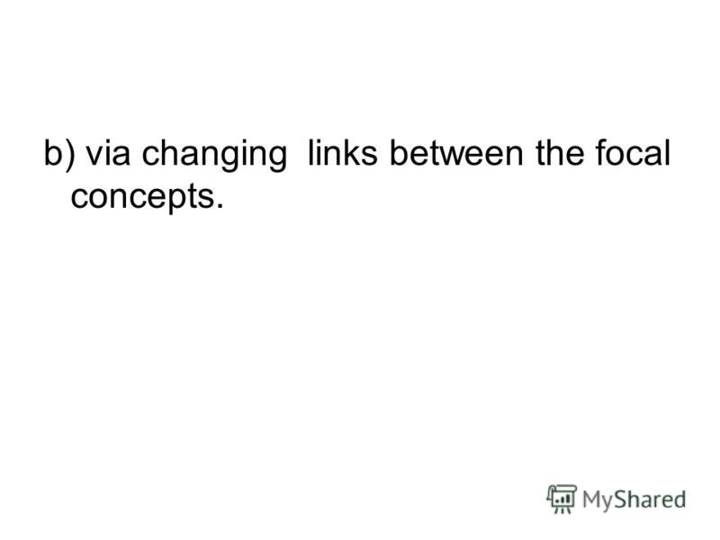 b) via changing links between the focal concepts.