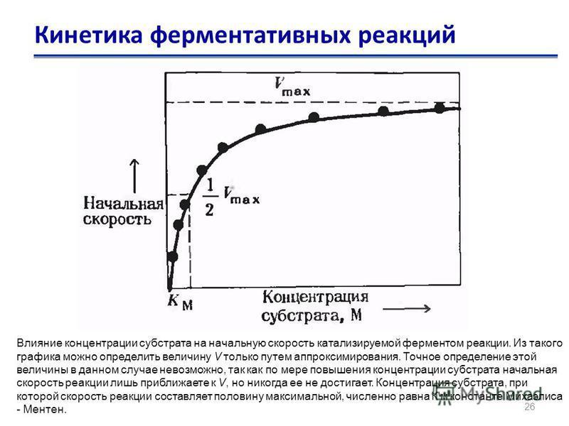 26 Кинетика ферментативных реакций Влияние концентрации субстрата на начальную скорость катализируемой ферментом реакции. Из такого графика можно определить величину V только путем аппроксимирования. Точное определение этой величины в данном случае н