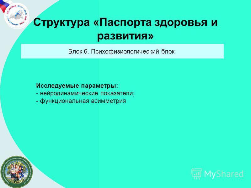 Структура «Паспорта здоровья и развитыя» Блок 6. Психофизиологический блок Исследуемые параметры: - нейродинамические показатели; - функциональная асимметрия