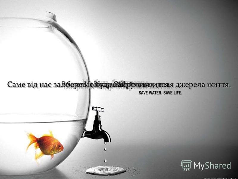 Запамятай це. Саме від нас залежить доля майбутнього, доля джерела життя. Збережи воду. Збережи життя. Не будь байдужим.