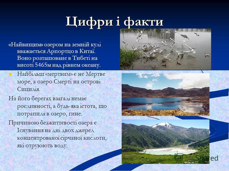 Цифри і факти «Найвищим» озером на земній кулі вважається Арпортцо в Китаї. Воно розташоване в Тибеті на висоті 5465м над рівнем океану. Найбільш «мертвим» є не Мертве море, а озеро Смерті на острові Сицилія. На його берегах взагалі немає рослинності