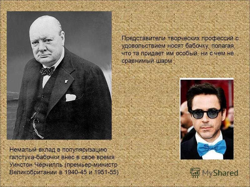 Немалый вклад в популяризацию галстука бабочки внес в свое время Уинстон Черчилль (премьер-министр Великобритании в 1940-45 и 1951-55) Представители творческих профессий с удовольствием носят бабочку, полагая, что та придает им особый, ни с чем не ср