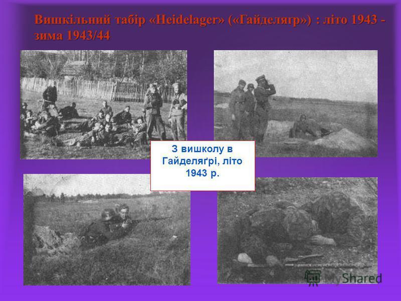 Вишкільний табір «Heidelager» («Гайделяґр») : літо 1943 - зима 1943/44 З вишколу в Гайделяґрі, літо 1943 р.