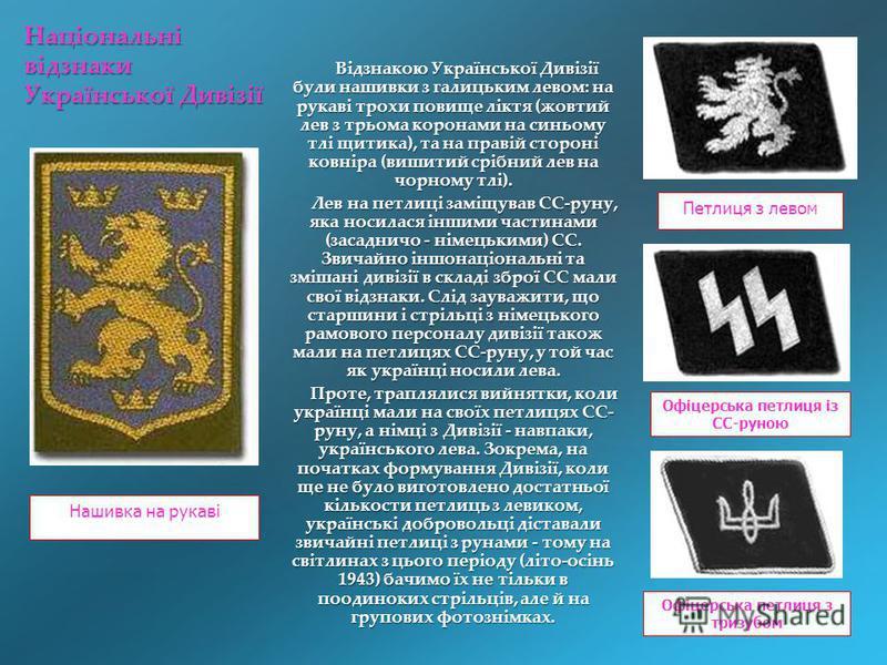 Відзнакою Української Дивізії були нашивки з галицьким левом: на рукаві трохи повище ліктя (жовтий лев з трьома коронами на синьому тлі щитика), та на правій стороні ковніра (вишитий срібний лев на чорному тлі). Відзнакою Української Дивізії були наш