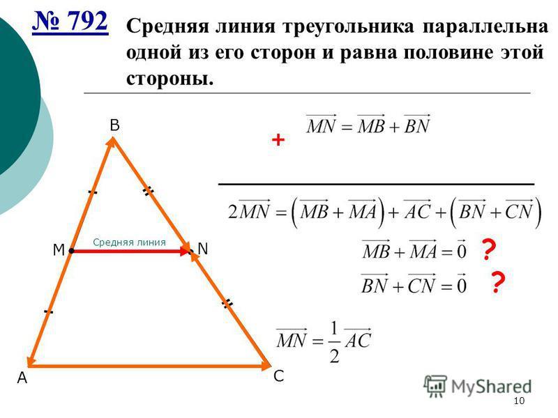 А В С + ? Средняя линия треугольника параллельна одной из его сторон и равна половине этой стороны. М N Средняя линия ? 10 792