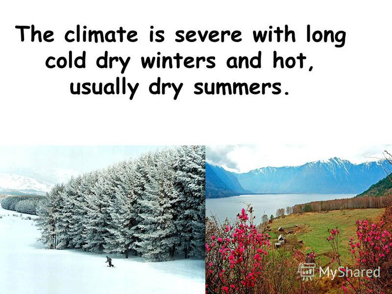 The climate is severe with long cold dry winters and hot, usually dry summers.