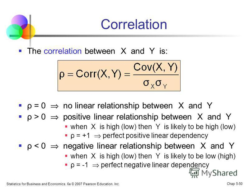 Statistics for Business and Economics, 6e © 2007 Pearson Education, Inc. Chap 5-50 Correlation The correlation between X and Y is: ρ = 0 no linear relationship between X and Y ρ > 0 positive linear relationship between X and Y when X is high (low) th