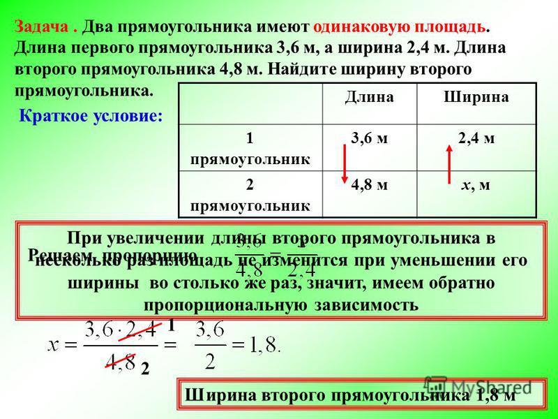 Задача. Два прямоугольника имеют одинаковую площадь. Длина первого прямоугольника 3,6 м, а ширина 2,4 м. Длина второго прямоугольника 4,8 м. Найдите ширину второго прямоугольника. Длина Ширина 1 прямоугольник 3,6 м 2,4 м 2 прямоугольник 4,8 мх, м Кра
