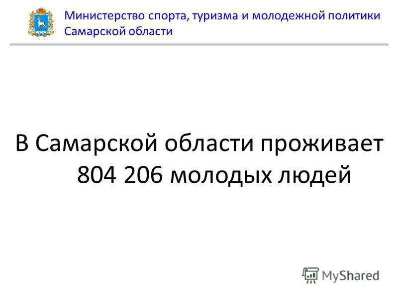 Министерство спорта, туризма и молодежной политики Самарской области В Самарской области проживает 804 206 молодых людей