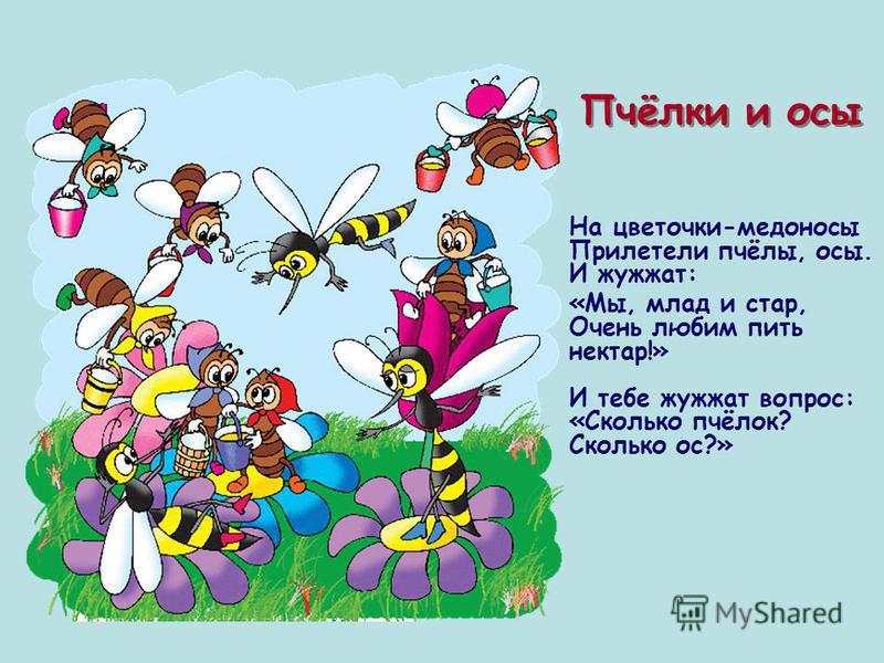 Пчёлки и осы На цветочки-медоносы Прилетели пчёлы, осы. И жужжат: «Мы, млад и стар, Очень любим пить нектар!» И тебе жужжат вопрос: «Сколько пчёлок? Сколько ос?»