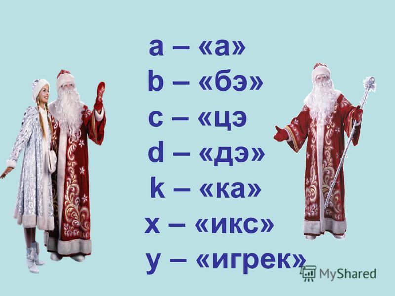 a – «а» b – «бэ» c – «це d – «дэ» k – «ка» x – «икс» y – «игрек»