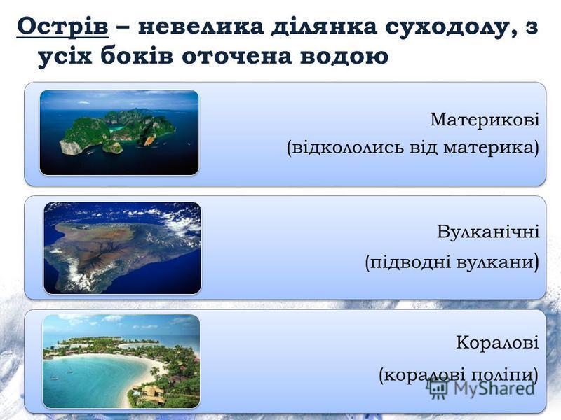 Острів – невелика ділянка суходолу, з усіх боків оточена водою Материкові (відкололись від материка) Вулканічні (підводні вулкани ) Коралові (коралові поліпи)
