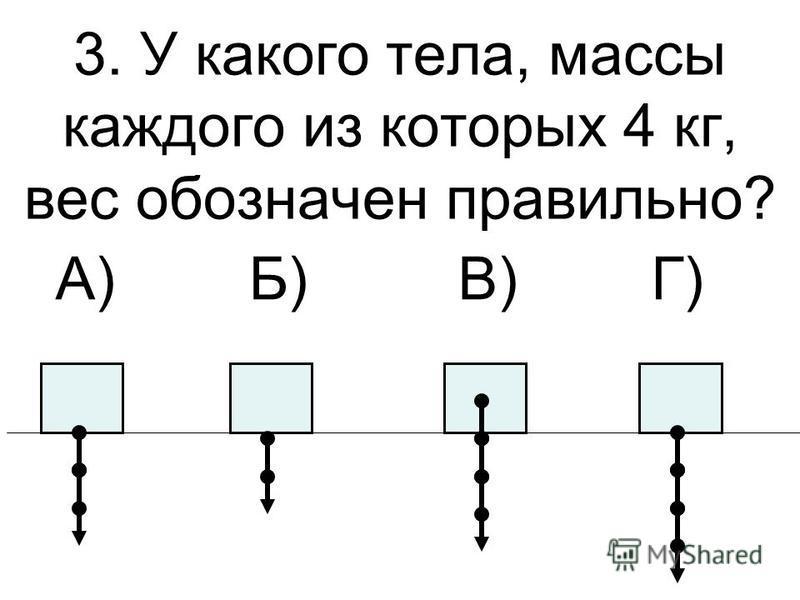3. У какого тела, массы каждого из которых 4 кг, вес обозначен правильно? А) Б) В) Г)