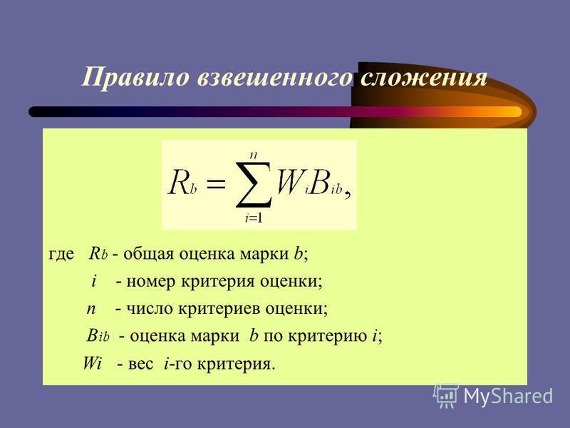 Правило взвешенного сложения где R b - общая оценка марки b; i - номер критерия оценки; n - число критериев оценки; B ib - оценка марки b по критерию i; Wi - вес i-го критерия.