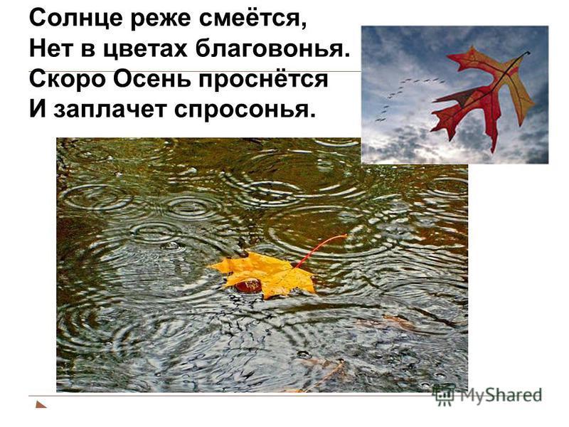 Солнце реже смеётся, Нет в цветах благовонья. Скоро Осень проснётся И заплачет спросонья.