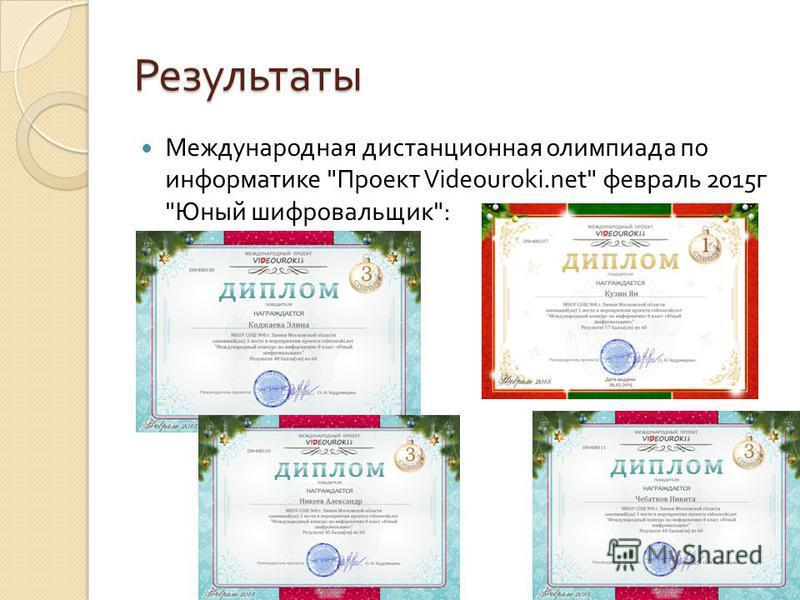 Результаты Международная дистанционная олимпиада по информатике  Проект Videouroki.net февраль 2015 г  Юный шифровальщик :