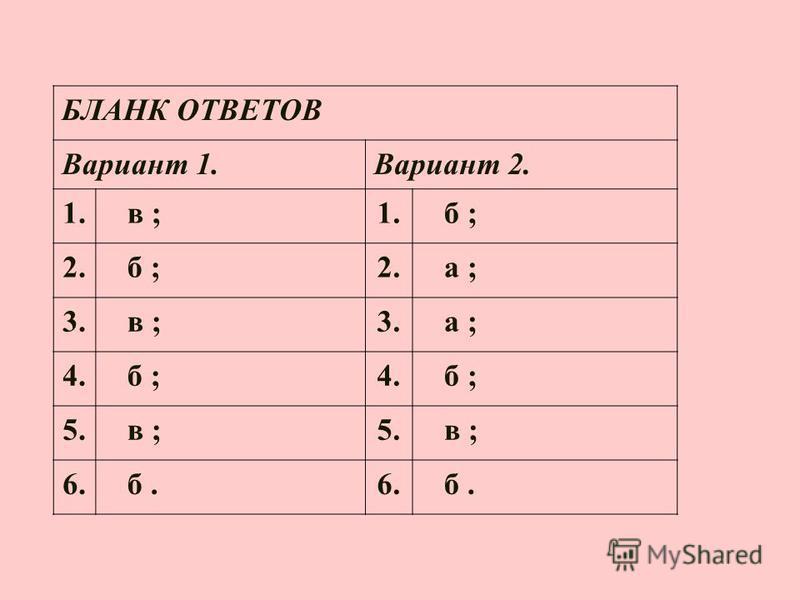 БЛАНК ОТВЕТОВ Вариант 1. Вариант 2. 1. в ;1. б ; 2. б ;2. а ; 3. в ;3. а ; 4. б ;4. б ; 5. в ;5. в ; 6. б.6. б.