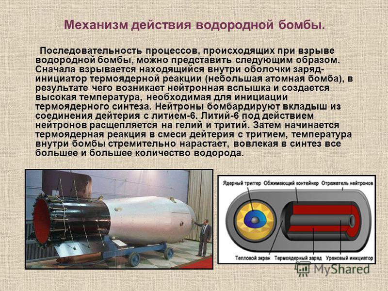 Механизм действия водородной бомбы. Последовательность процессов, происходящих при взрыве водородной бомбы, можно представить следующим образом. Сначала взрывается находящийся внутри оболочки заряд- инициатор термоядерной реакции (небольшая атомная б
