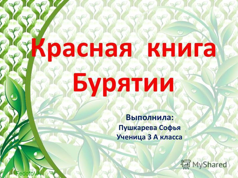 FedotoVA Красная книга Бурятии Выполнила: Пушкарева Софья Ученица 3 А класса