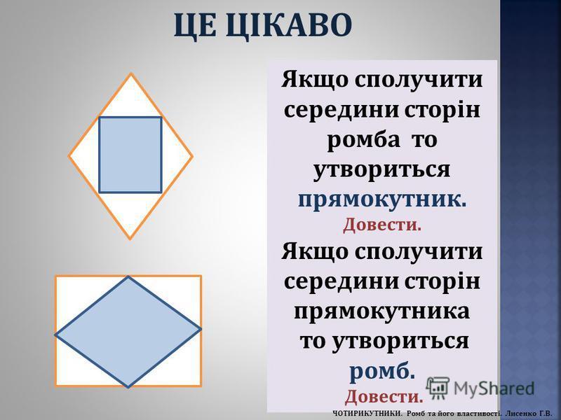 Якщо сполучити середини сторін ромба то утвориться прямокутник. Довести. Якщо сполучити середини сторін прямокутника то утвориться ромб. Довести. ЦЕ ЦІКАВО ЧОТИРИКУТНИКИ. Ромб та його властивості. Лисенко Г.В.