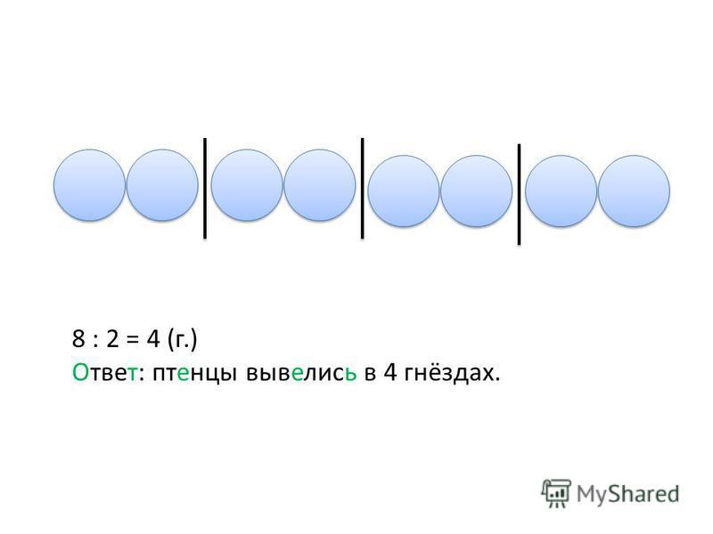 8 : 2 = 4 (г.) Ответ: птенцы вывелись в 4 гнёздах.