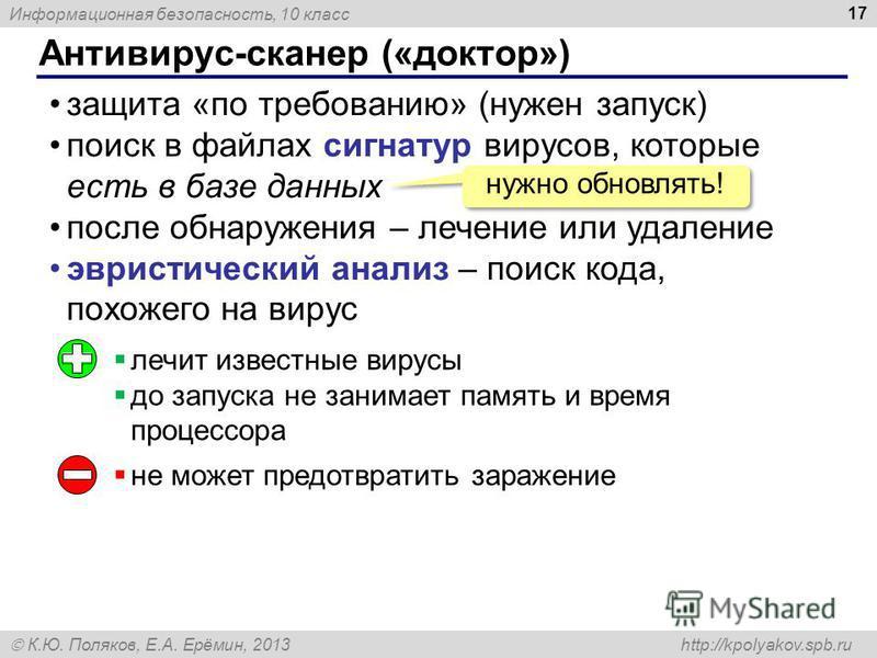 Информационная безопасность, 10 класс К.Ю. Поляков, Е.А. Ерёмин, 2013 http://kpolyakov.spb.ru Антивирус-сканер («доктор») 17 защита «по требованию» (нужен запуск) поиск в файлах сигнатур вирусов, которые есть в базе данных после обнаружения – лечение